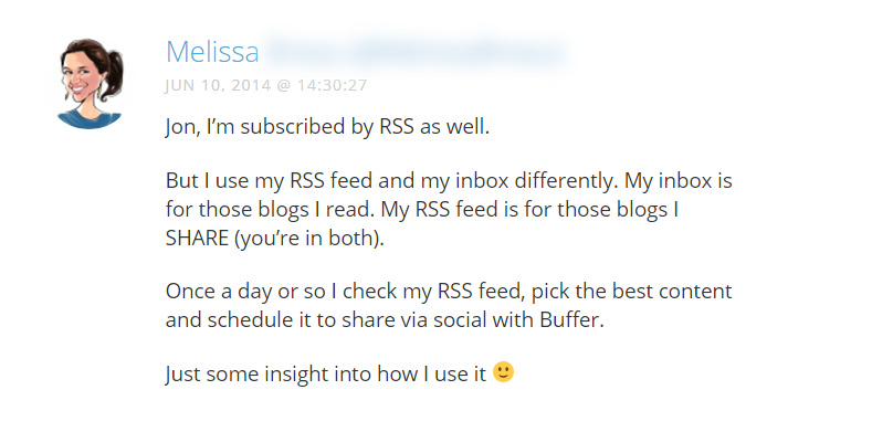 User's comment on importance of RSS feed